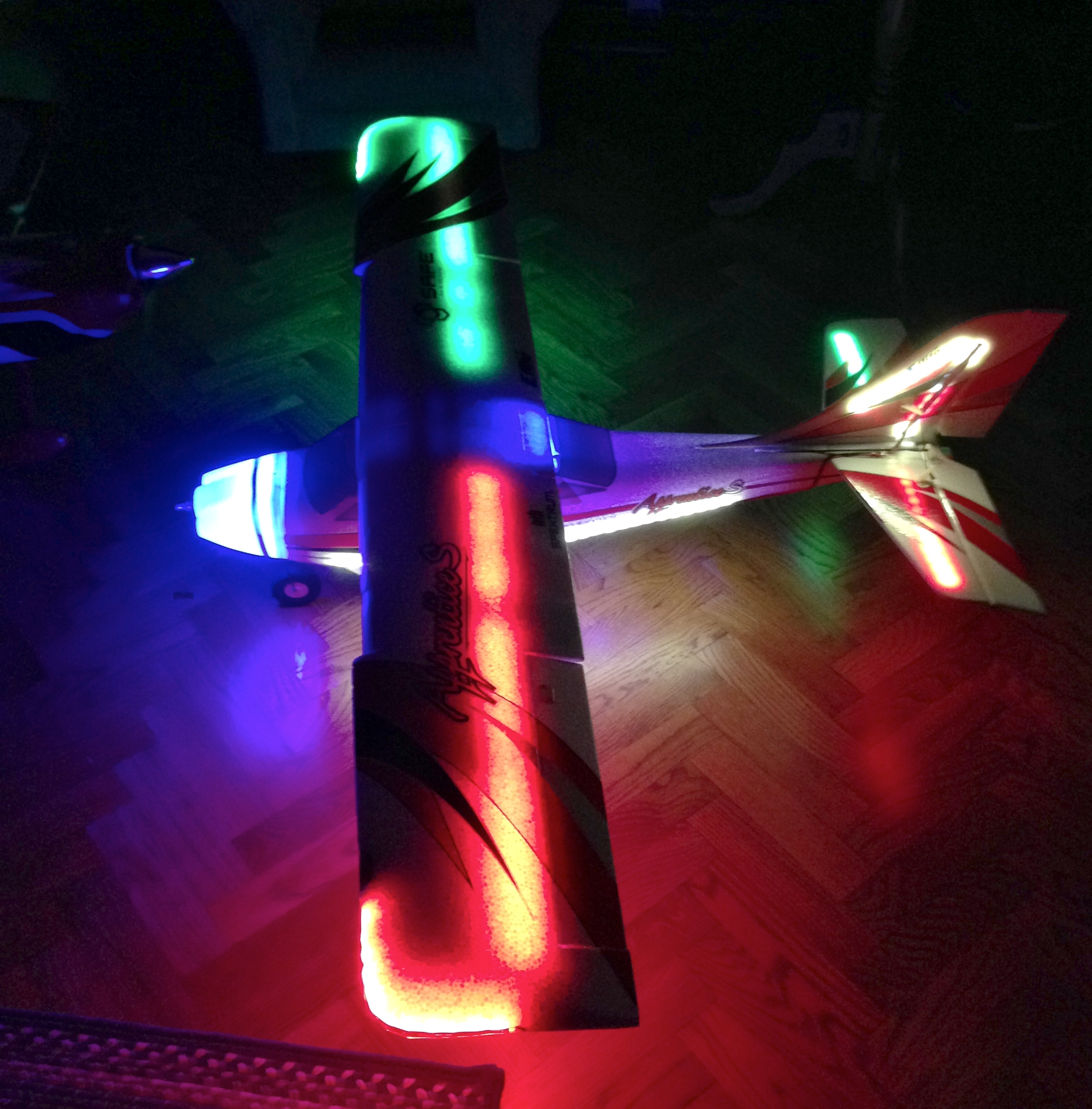 Night Flying With Led Lights On The E Flite Apprentice S 15e Options Solid Color Leds At Full Blast All