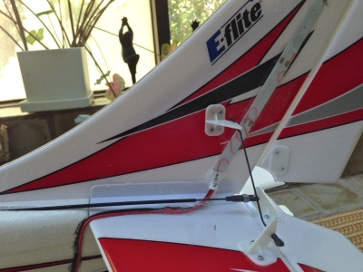 White LED strip on the vertical stabilizer