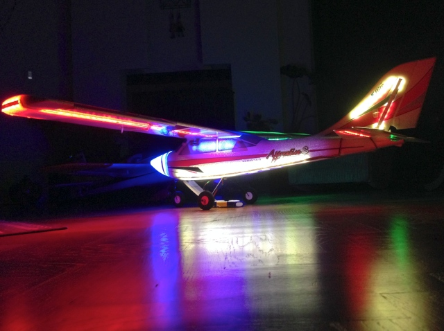 Side view of the plane with all LEDs on