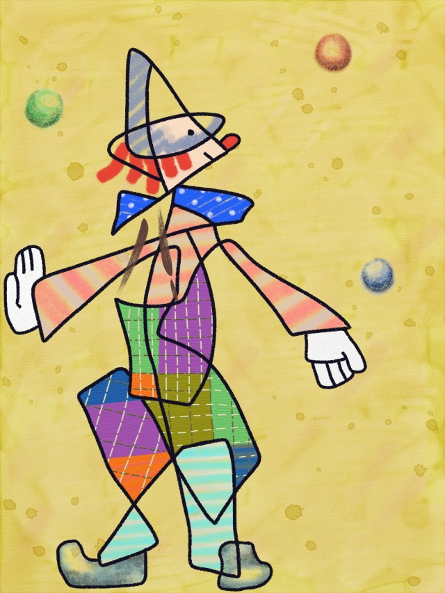 Clown Juggling Balls in Paul Klee Style painted in ArtRage