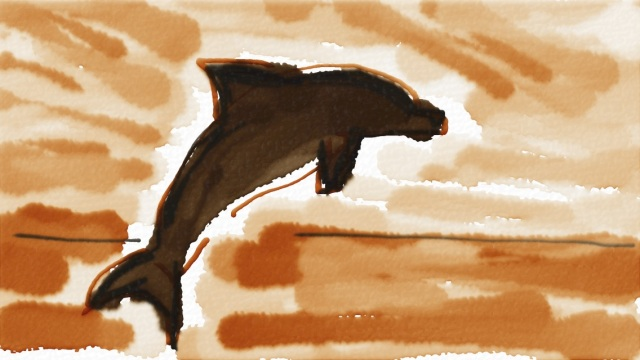 Common Dolphin at Sunset in Auryn Ink