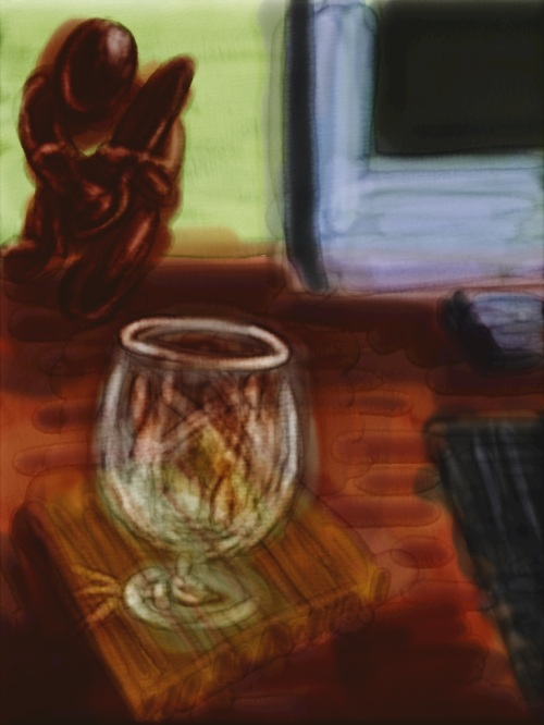 Close-up watercolor of a brandy glass in Auryn Ink