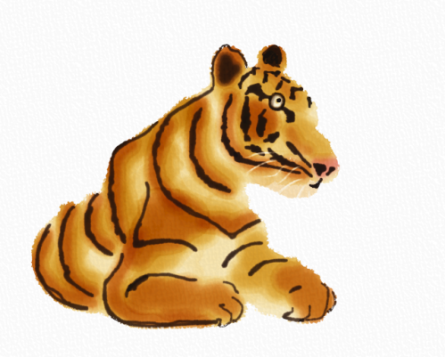 Tiger in a lazy afternoon in Auryn Ink