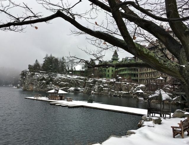 Main buildings in winter at Mohonk