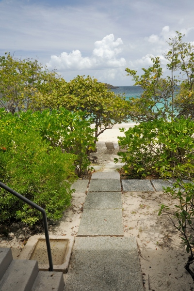 Personal foot rinser and staircase at the room leading to the Turtle Bay Beach