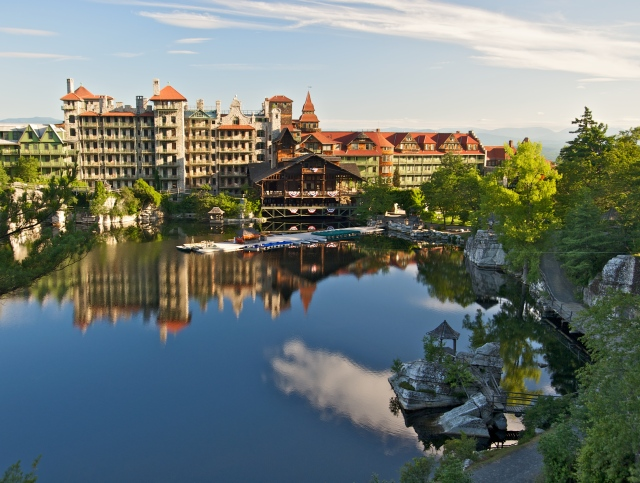 Main buildings surrounding the Lake Mohonk at Mohonk Mountain House