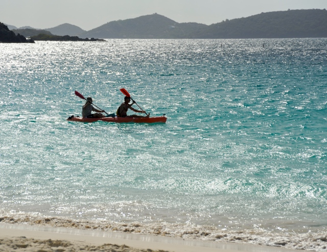 Sea kayaking at Trunk Bay