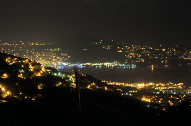 A night shot of the bay from the banquet hall