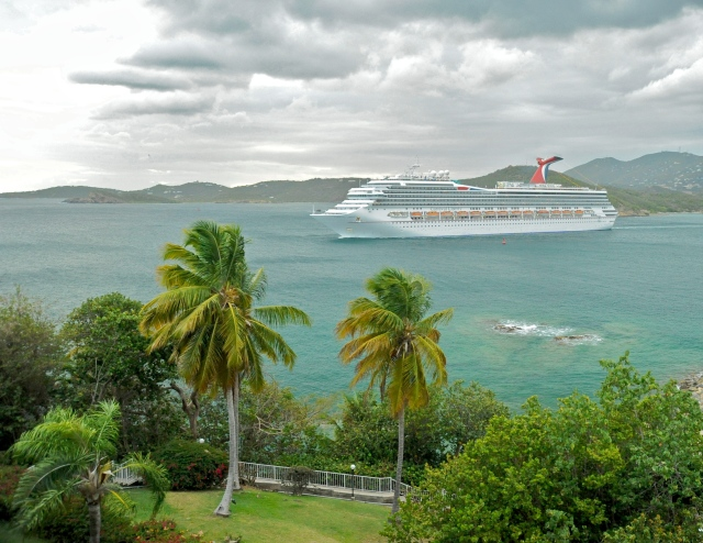 Carnival Liberty cruise in bay, passing Marriott resort on St. Thomas