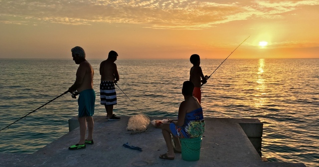 Cortez Beach Angling at Sunset at the Sea Wall
