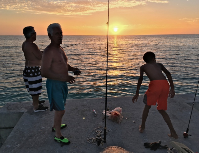 Cortez Beach Angling at Sunset at the Sea Wall
