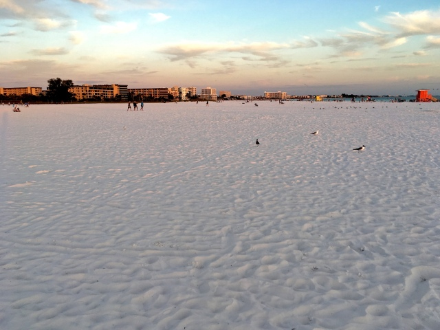 Enormity of Siesta Beach on Siesta Key at Sunset