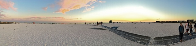 Panorama of Siesta Beach on Siesta Key at Sunset