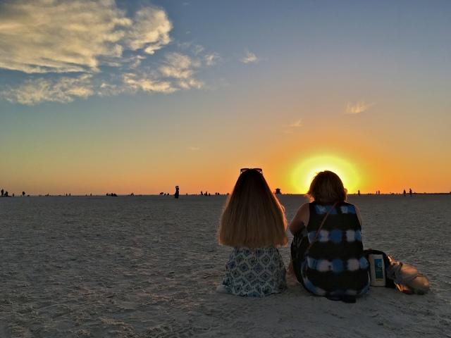 Folks Enjoying Sunset at Siesta Beach