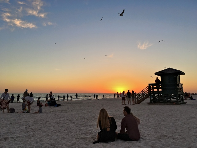 Folks Enjoying Sunset at Siesta Beach