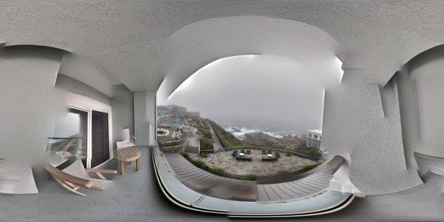Equirectangular panorama showing a 360° view of the surroundings standing on the balcony of a room at Ocean Terrace Rooms