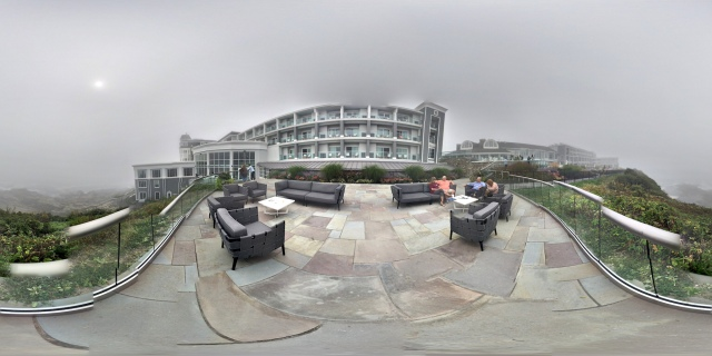 Equirectangular panorama showing a 360° view of the Ocean Terrace Rooms and its surroundings, standing on the terrace