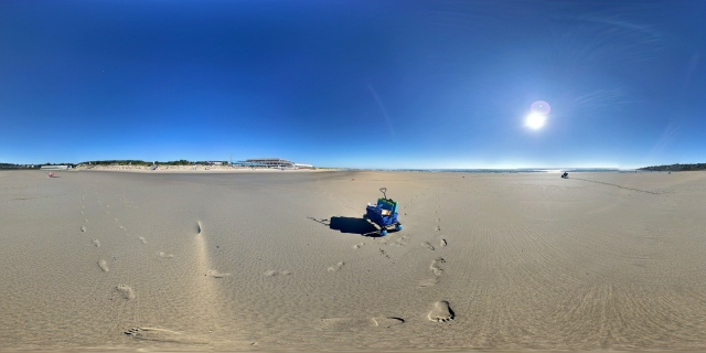 Panorama of the lone wagon on the Ogunquit Beach