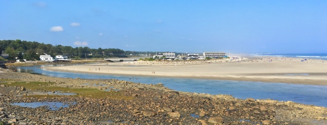 Norseman Resort on Ogunquit Beach seen from Marginal Way at low tide