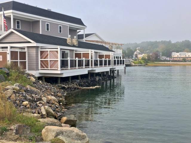 Private decks of the three Tidal Suites at the Norseman Resort seen from the parking lot