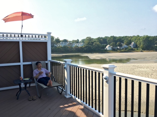 Tidal Suites at the Norseman Resort - enjoying a beer on the private deck overlooking an emptied Ogunquit River at low tide