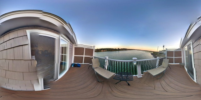 Tidal Suites at the Norseman Resort - panoramic view of the river at high tide from the deck