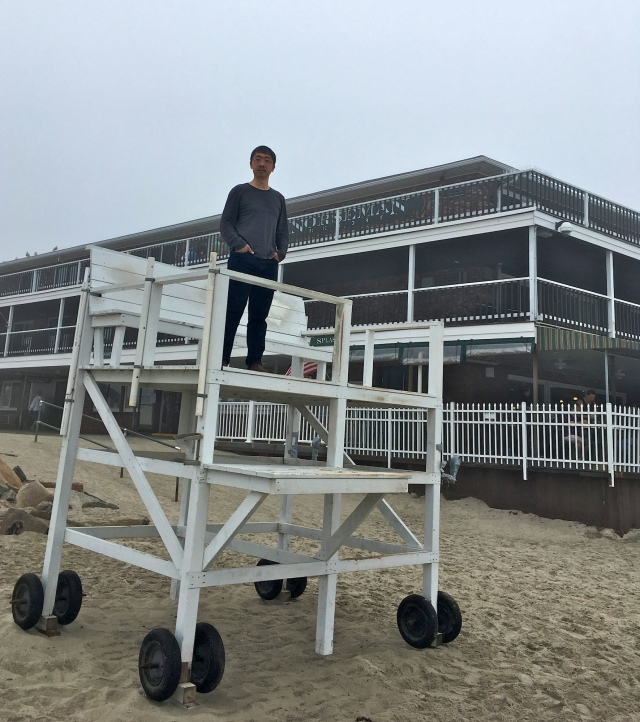 Standing on the lifeguard station by the Norseman Resort on the Ogunquit Beach