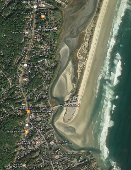 Ogunquit river delta with the main beach and the Norseman at the tip of the peninsula
