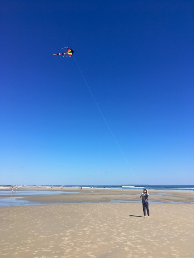 Flying a delta kite at Ogunquit Beach