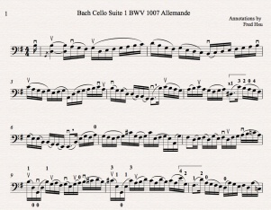 Bach Cello Suite 1 BWV 1007 Allemande Fred Annotated Icon