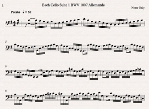 Bach Cello Suite 1 BWV 1007 Allemande Notes Only Icon