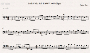 Bach Cello Suite 1 BWV 1007 Gigue Notes Only Icon
