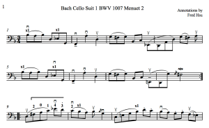 Bach Cello Suite 1 BWV 1007 Menuet 2 Fred Annotations 2016