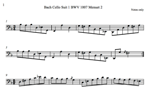 Bach Cello Suite 1 BWV 1007 Menuet 2 Notes Only 2016