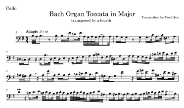 Adagio from Bach Organ Toccata Clean Transposed Cello Thumb