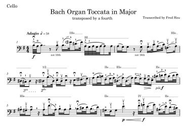 Thumbnail for Adagio from Bach Organ Toccata Transposed Cello, with my own markings.