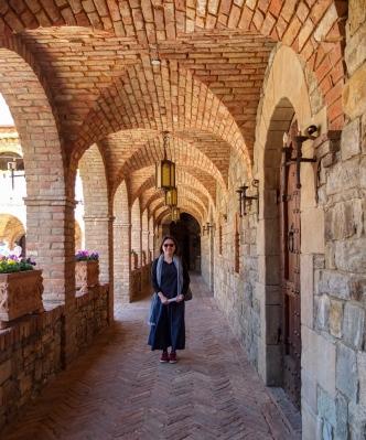 Arcade at Castello di Amorosa castle winery - Napa Valley