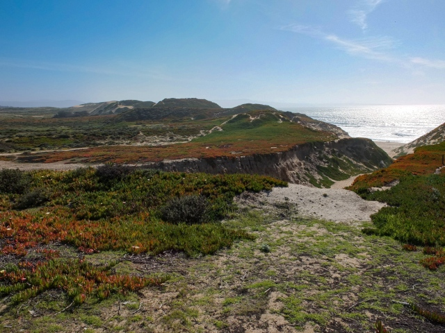 Narrow canyon leading down to the beach, at Fort Ord Dunes State Park, Monterey Bay