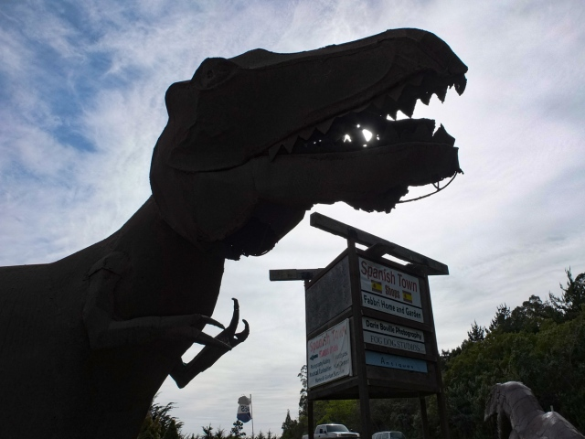 A sculpture of Tyrannosaurus rex at Spanish Town, Half Moon Bay