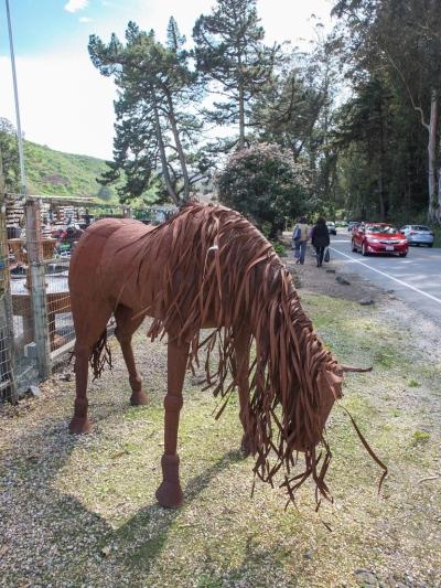 Horse Metal Sculpture at Sun Studios, Half Moon Bay