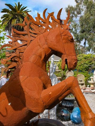 Horse metal sculpture at Spanish Town, Half Moon Bay