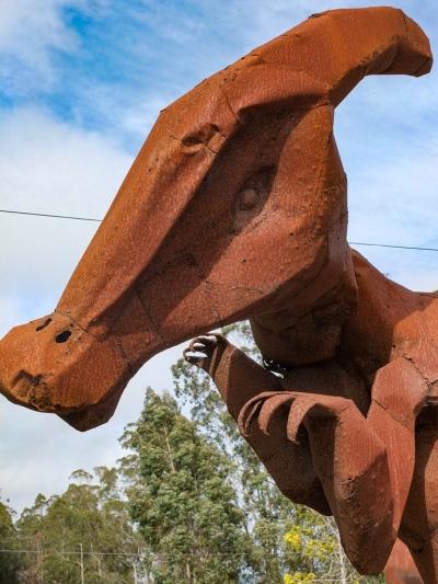 Parasaurolophus metal sculpture at Spanish Town, Half Moon Bay