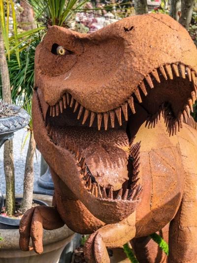 T. rex metal sculpture at Spanish Town, Half Moon Bay