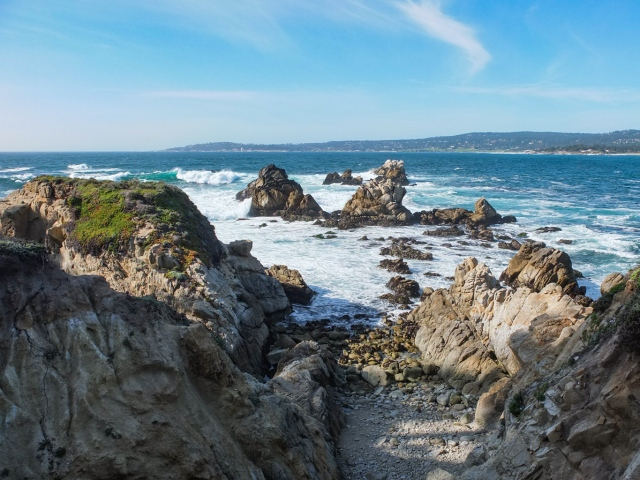 Ocean and rock formations at Point Lobos, Monterey Bay