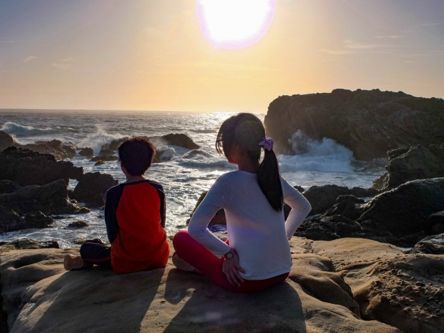 Sunset at S Shore Trail at Point Lobos, Monterey Bay