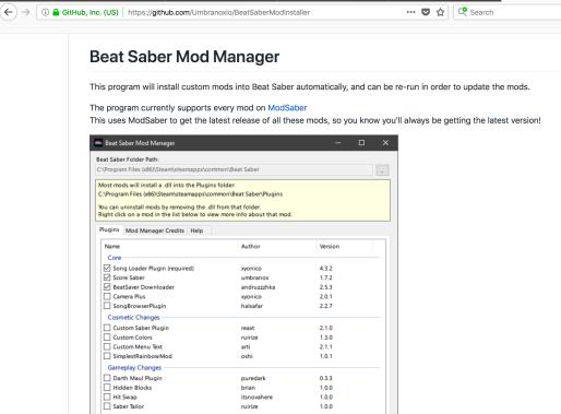 beat saber mod manager