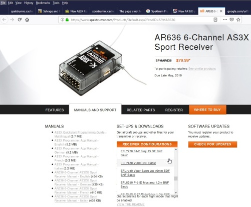 Screenshot of AR636 SRM download page