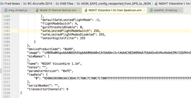 Spektrum Receiver Model SRM file in JSON