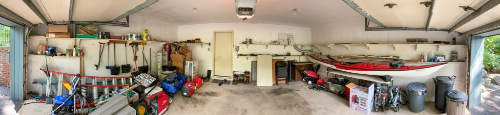 180° Panorama of the garage before remodeling