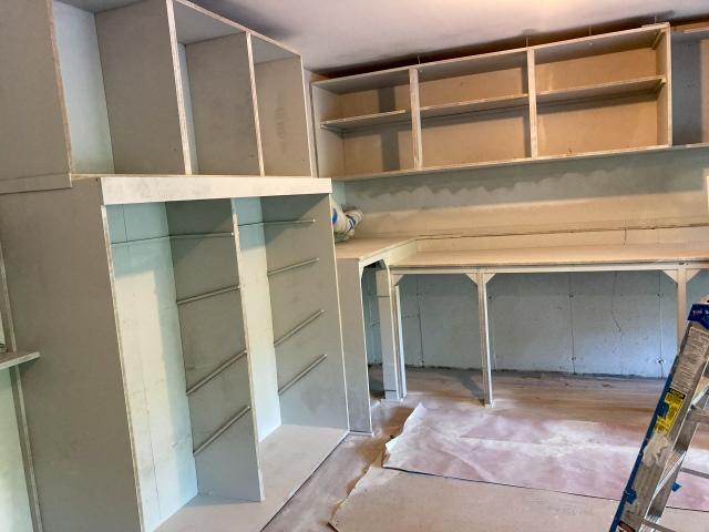 Cabinet frames are primed